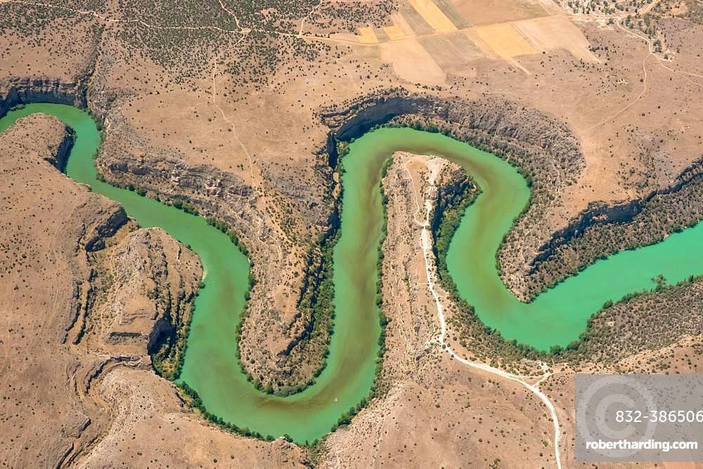 River Duraton in barren landscape, Castile Leon, Spain, Europe