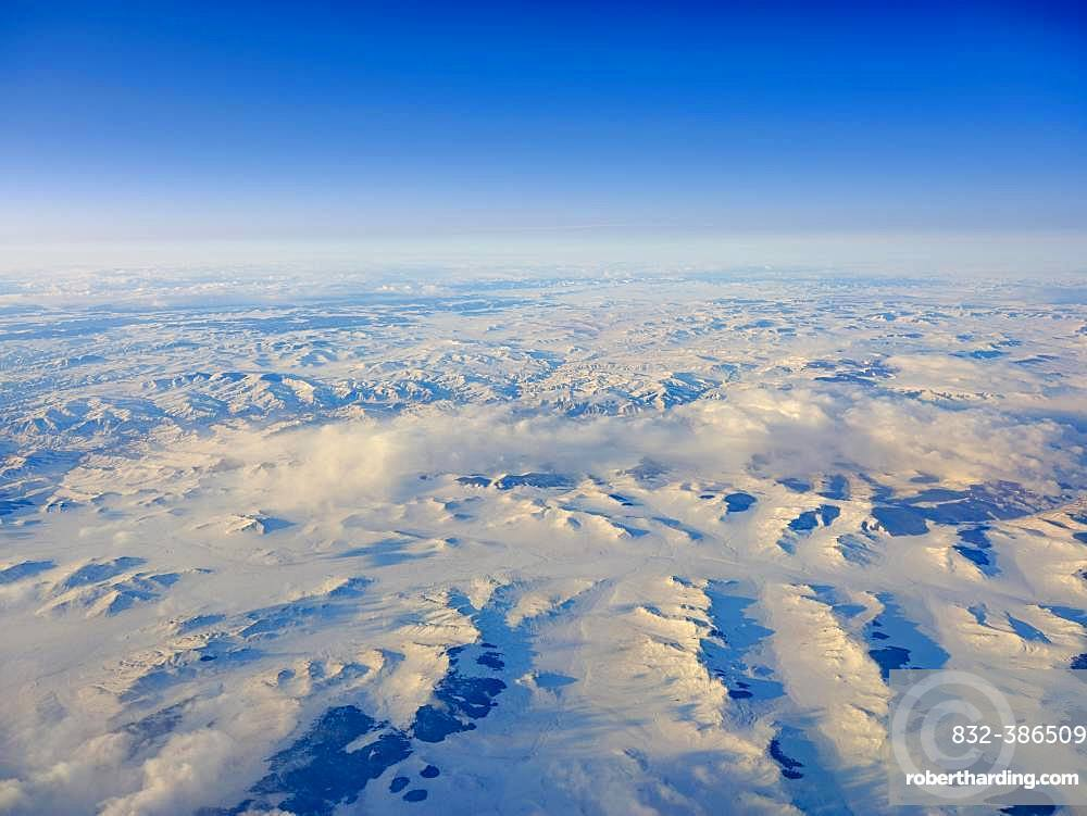Aerial view, snow-covered landscape, Western Mongolia, Mongolia, Asia