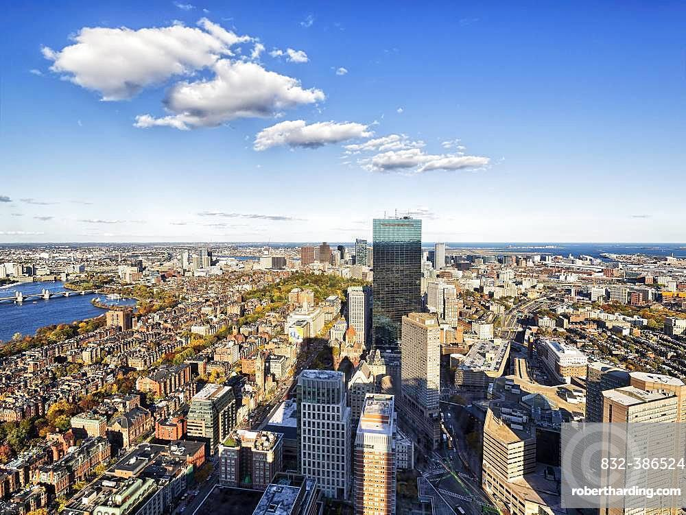 View from Prudential Tower to Financial District, 200 Clarendon and downtown, Boston, Massachusetts, New England, USA, North America