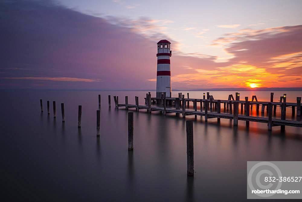 Lighthouse at sunset, Podersdorf am See, Lake Neusiedl, Burgenland, Austria, Europe