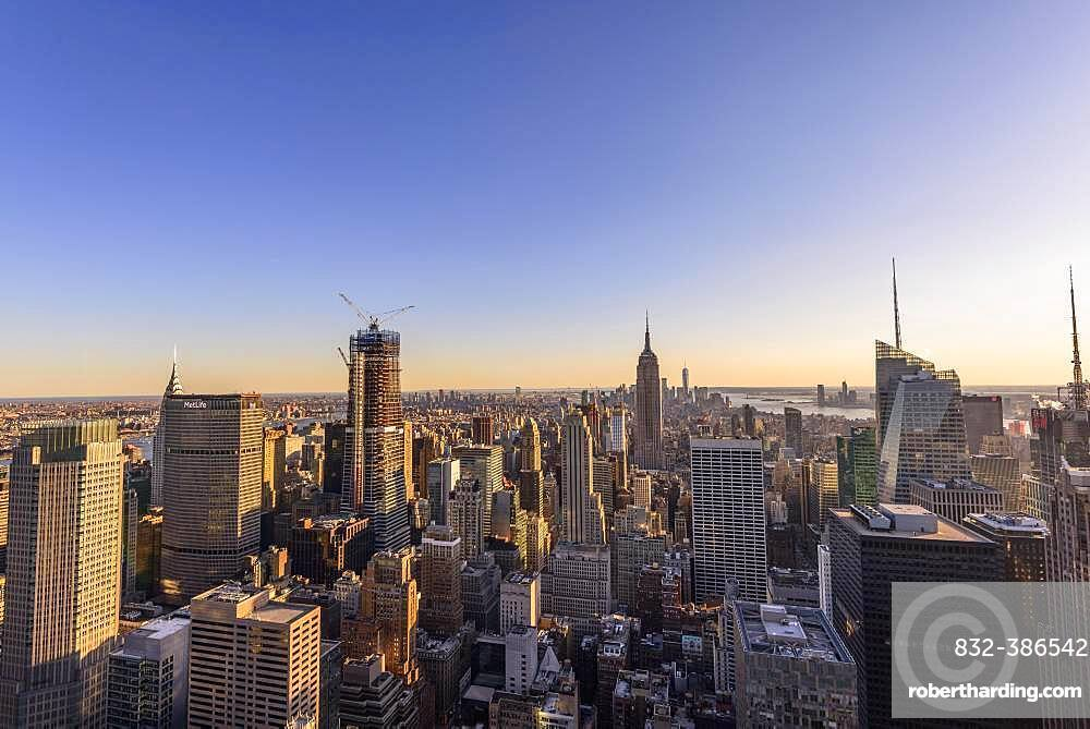 View of Midtown and Downtown Manhattan and Empire State Building from Top of the Rock Observation Center, Rockefeller Center, Manhattan, New York City, New York State, USA, North America