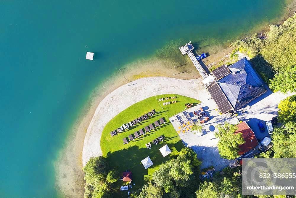Restaurant Faehrhuette near Rottach-Egern, Tegernsee, aerial view, Upper Bavaria, Bavaria, Germany, Europe