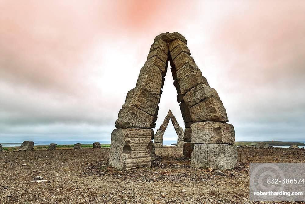 Monumental stone gates in barren landscape, Arctic Henge, Raufarhoefn, Melrakkasletta, North East Iceland, Iceland, Europe