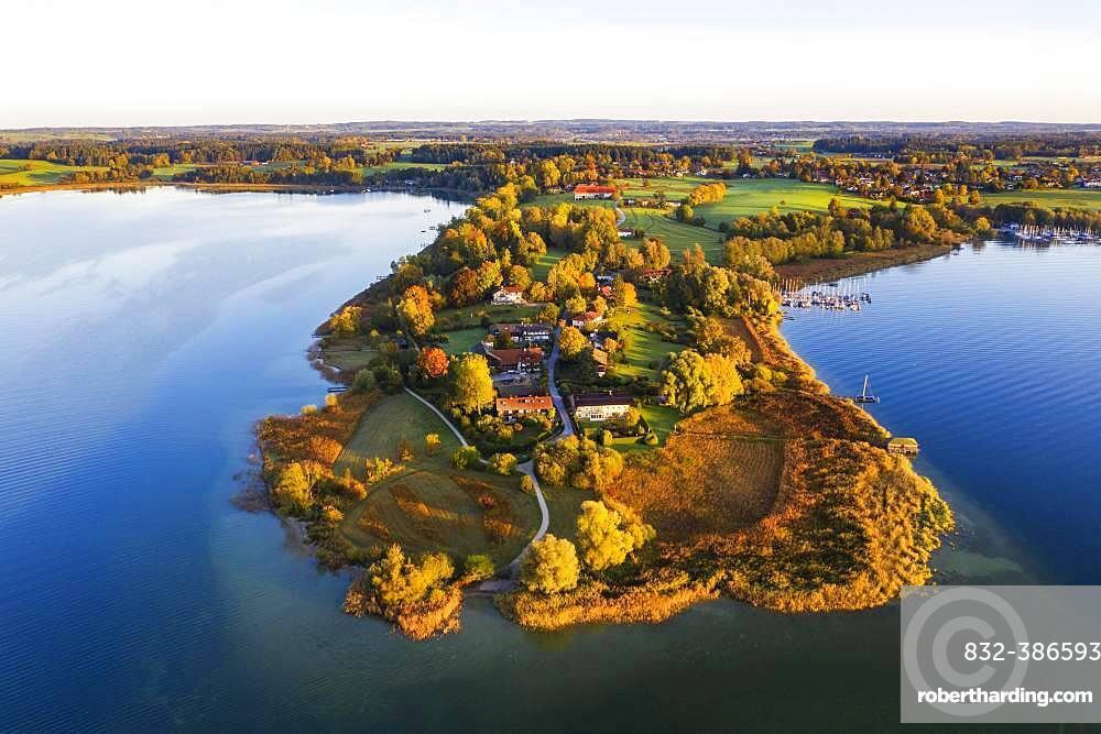 Urfahrn peninsula near Breitbrunn on Lake Chiemsee, Lake Chiemsee, Chiemgau, aerial photograph, Upper Bavaria, Bavaria, Germany, Europe