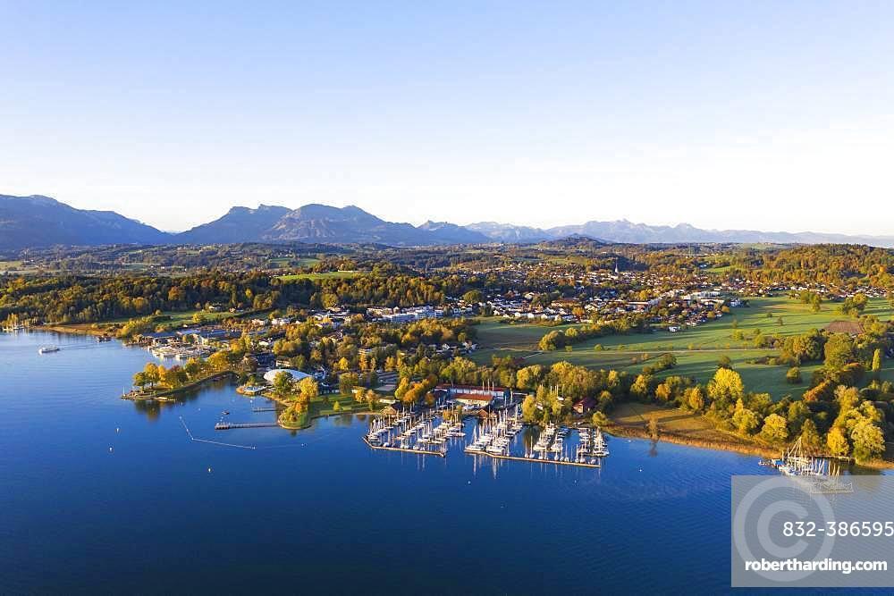 Prien am Chiemsee, Chiemgau, aerial view, Upper Bavaria, Bavaria, Germany, Europe