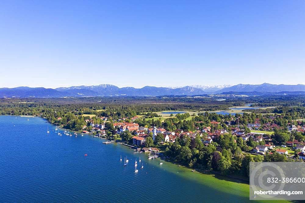 Seeshaupt at Lake Starnberger See with Alpine chain, Fuenfseenland, aerial view, Upper Bavaria, Bavaria, Germany, Europe