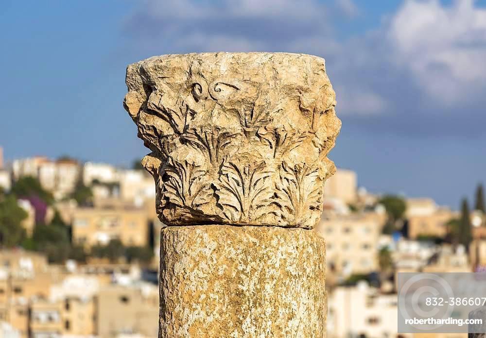 Corinthian column capital, Jerash, Jordan, Asia
