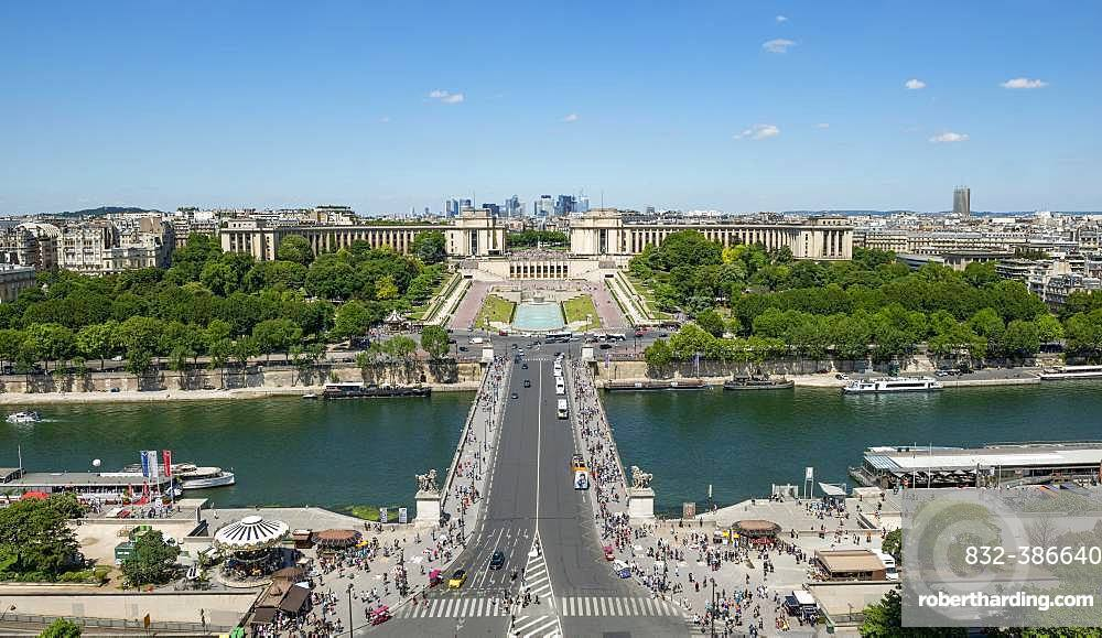 View from the Eiffel Tower to the Jardins du Trocadero with bridge Pont d'Iena and river Seine, Paris, France, Europe