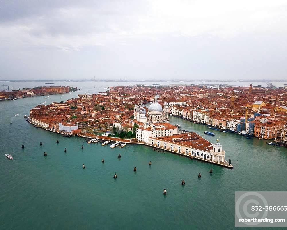 City view with church Santa Maria della Salute, aerial view, Venice, Italy, Europe