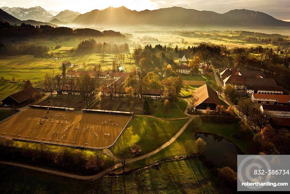 Gut Schwaiganger, horse breeding, country stud farm, Ohlstadt, Upper Bavaria, Bavaria, Germany, Europe