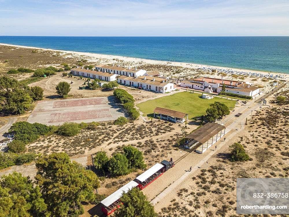 Barril Beach with Tuna Museum, next to Tavira, Algarve, Portugal, Europe
