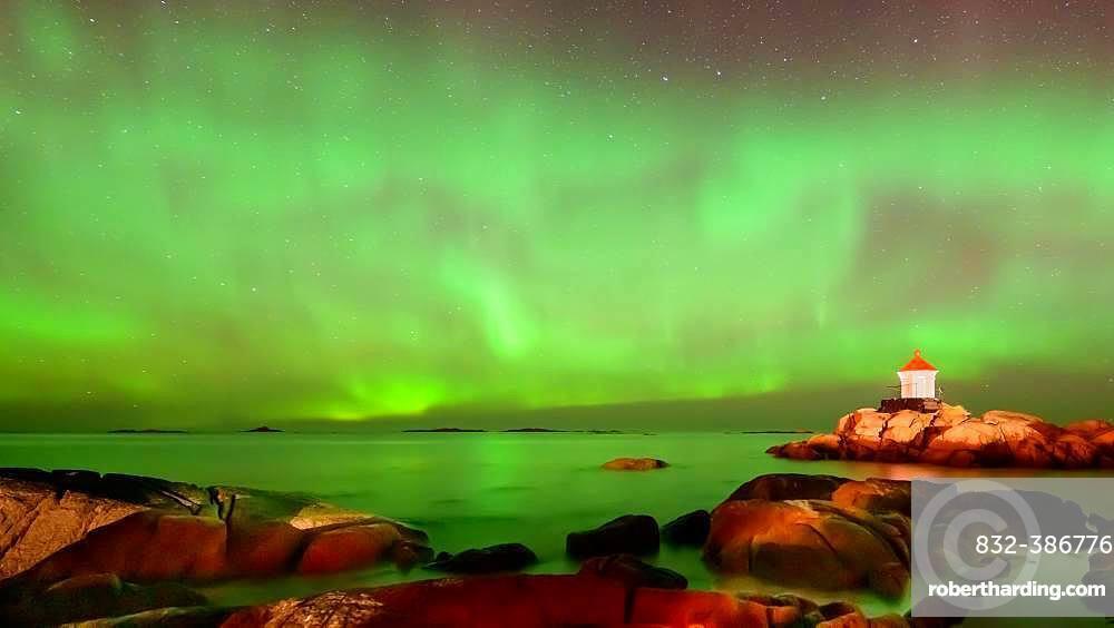 Northern Lights (Aurora borealis) above lighthouse, Eggum, Vestvagoy, Lofoten, Norway, Europe