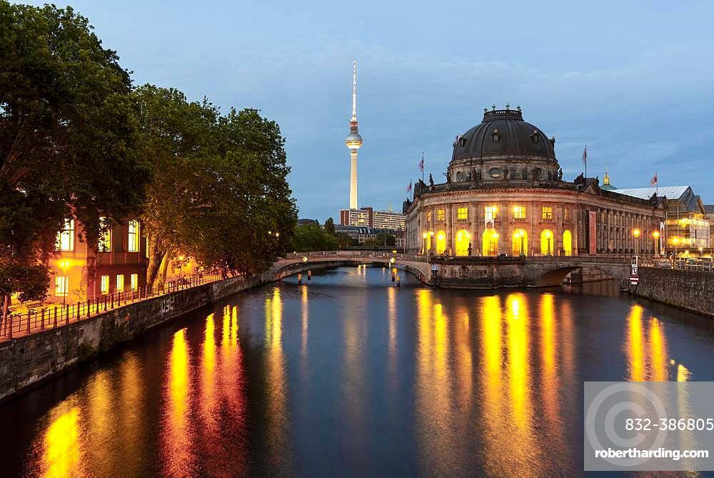Evening mood, illuminated Bode Museum on the Spree, in the back Berlin television tower Alex, Museum Island, Berlin-Mitte, Berlin, Germany, Europe