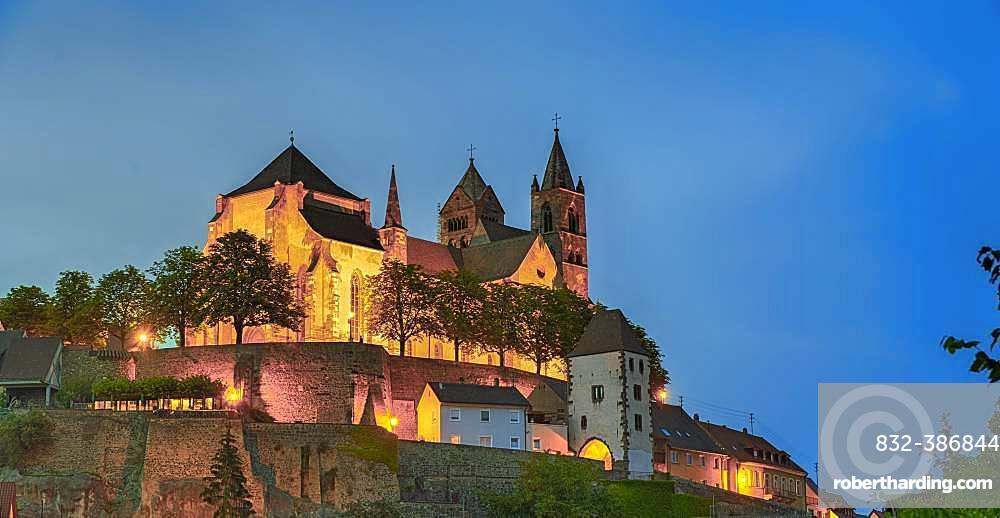 St. Stephan cathedral, colourfully illuminated at dusk, Breisach am Rhein, Baden-Wuerttemberg, Germany, Europe