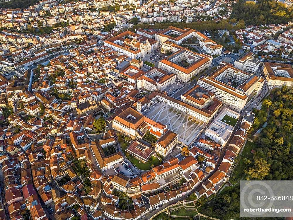 Aerial view, cityscape with Coimbra university, Coimbra, Portugal, Europe