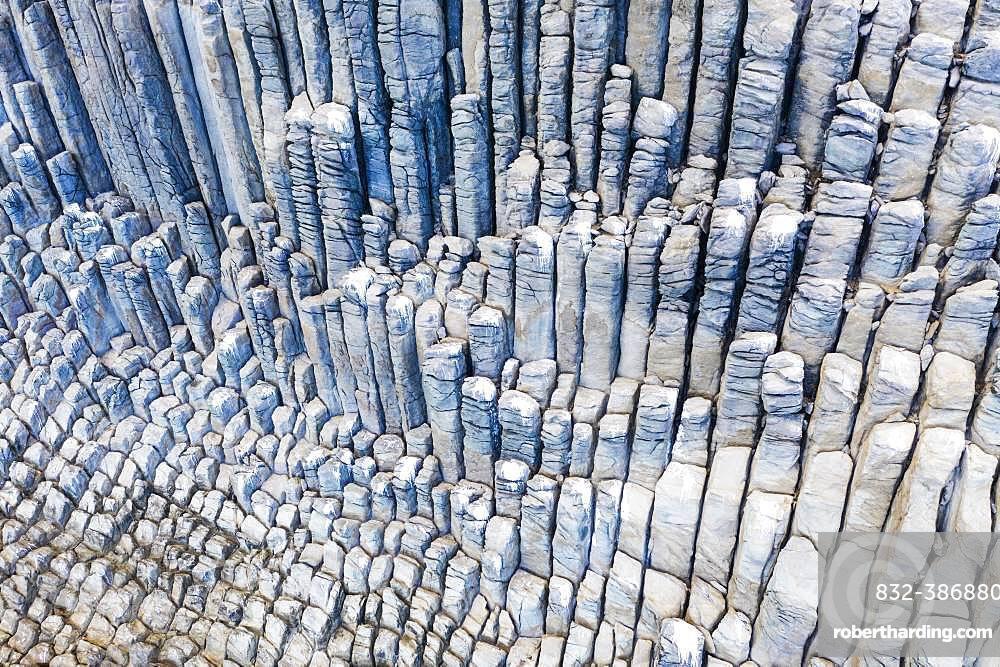 Basalt rock formation Los Organos, Organ Pipe Rock, near Vallehermoso, aerial view, La Gomera, Canary Islands, Spain, Europe