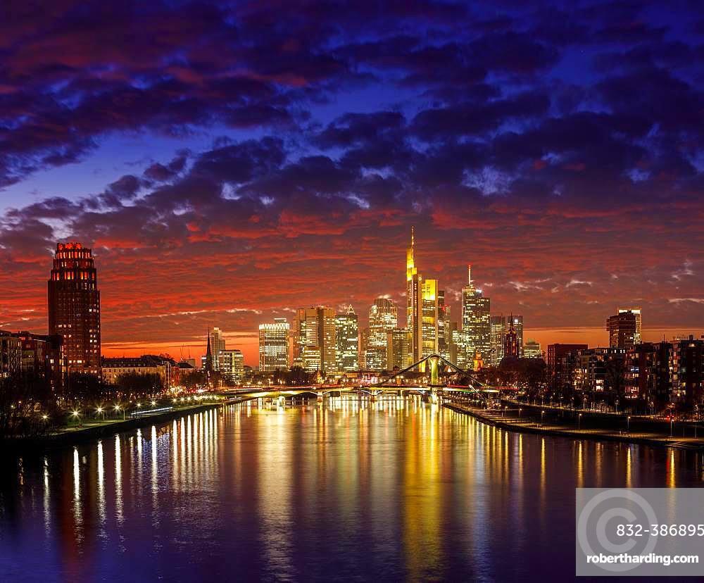 Skyline in afterglow, Frankfurt am Main, Hesse, Germany, Europe