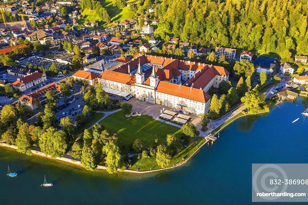 Lake Tegernsee, place Tegernsee and monastery Tegernsee, drone shot, Upper Bavaria, Bavaria, Germany, Europe