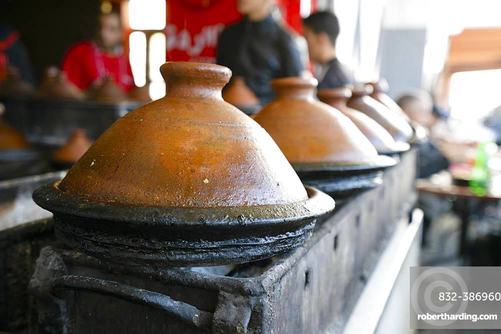 Delicious moroccan tajine prepared and served in clay pots, Marrakech, Morocco, Africa