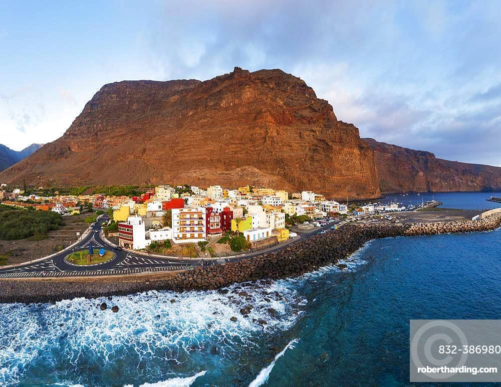 Vueltas with roundabout and harbour in the evening light, Valle Gran Rey, aerial view, La Gomera, Canary Islands, Spain, Europe