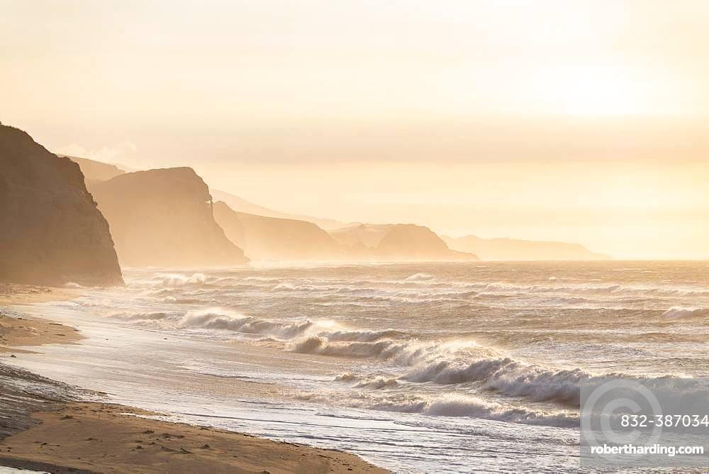 Evening mood on the coast of Kahurangi National Park, Tasman Sea, Anatori, Tasman, South Island, New Zealand, Oceania