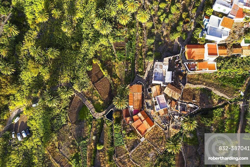 La Vizcaina from above, Valle Gran Rey, aerial view, La Gomera, Canary Islands, Spain, Europe