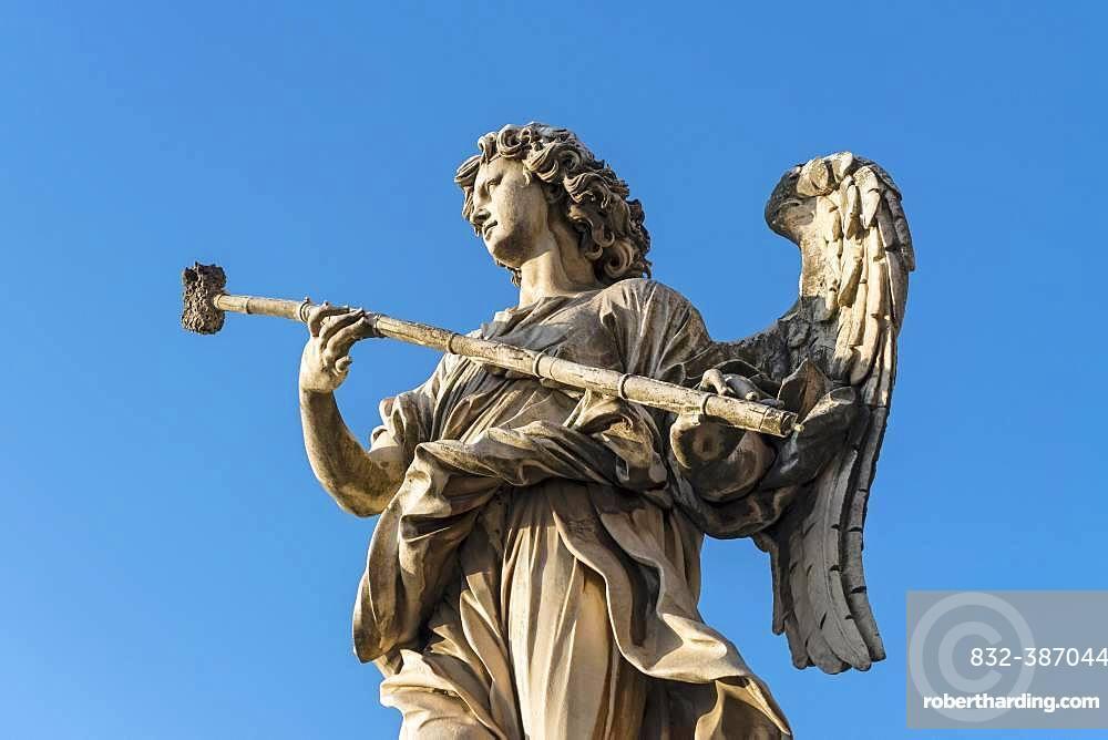 Statue of angel with the sponge, Ponte Sant'Angelo bridge, Rome, Italy, Europe