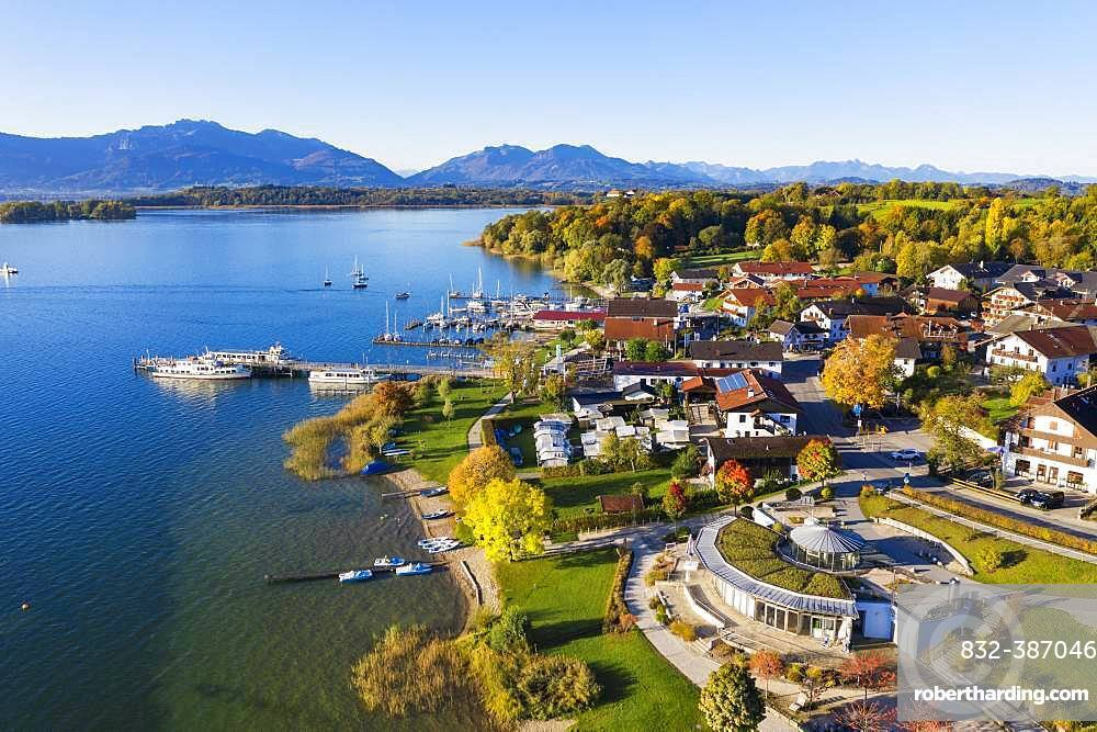 Boat landing stage and townscape, Gstadt am Chiemsee, Chiemsee, Chiemgau, aerial view, Upper Bavaria, Bavaria, Germany, Europe