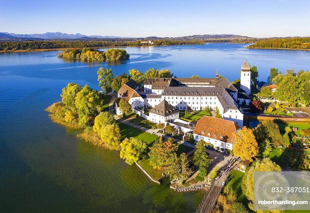 Benedictine monastery Frauenwoerth on Fraueninsel, Frauenchiemsee, behind Krautinsel and Herreninsel, Chiemsee, Alps, Chiemgau, aerial view, foothills of the Alps, Upper Bavaria, Bavaria, Germany, Europe