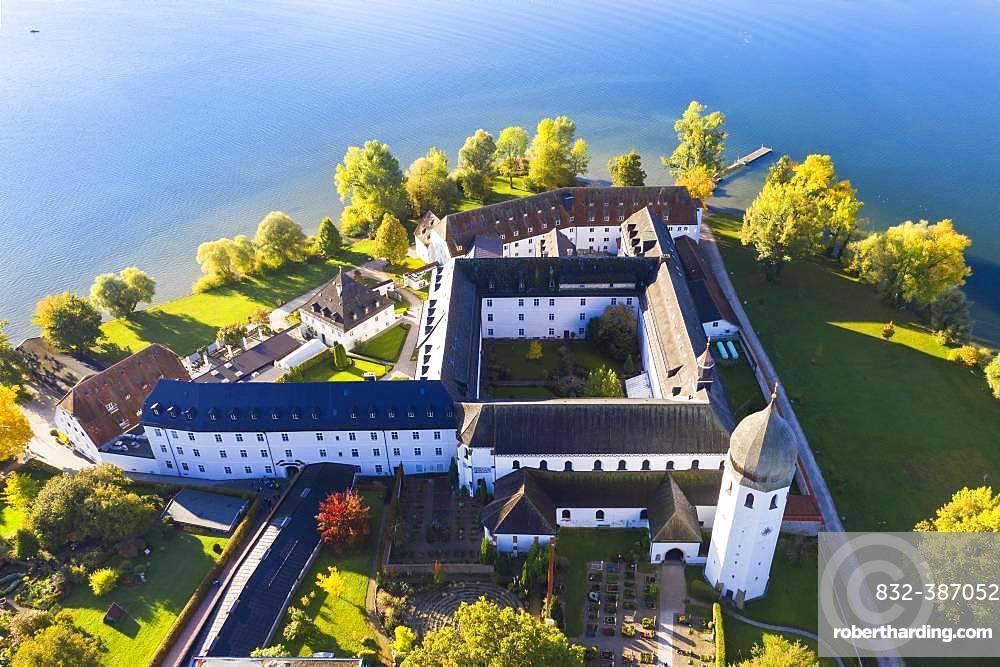 Benedictine monastery Frauenwoerth on Fraueninsel, Frauenchiemsee, Chiemsee, Chiemgau, aerial view, Alpine foreland, Upper Bavaria, Bavaria, Germany, Europe
