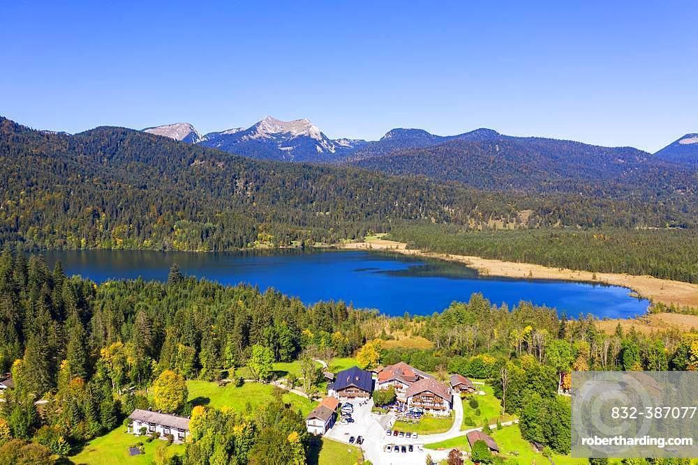 Lake Barmsee with alpine inn near Kruen, mountains Bischof and Krottenkopf in the Ester Mountains, Werdenfelser Land, drone shot, Upper Bavaria, Bavaria, Germany, Europe