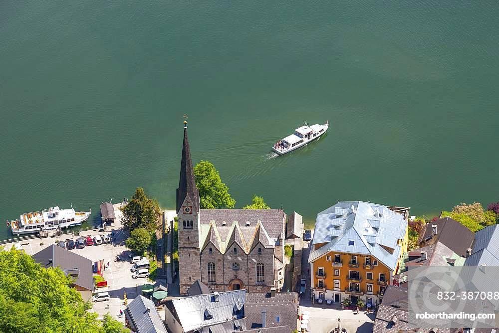 Excursion ships, Protestant Church, Hallstaettersee, Hallstatt, Salzkammergut, Upper Austria, Austria, Europe