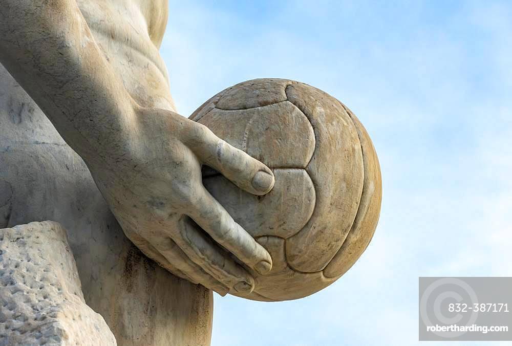 Athlete statue with a ball at Stadio dei Marmi, Foro Italico, Rome, Italy, Europe