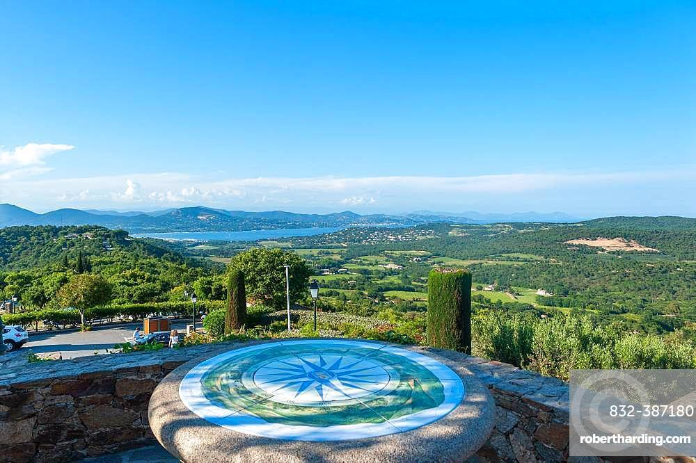 Viewpoint with compass rose, Gulf of Saint Tropez, Gassin, Var, Provence-Alpes-Cote d'Azur, France, Europe