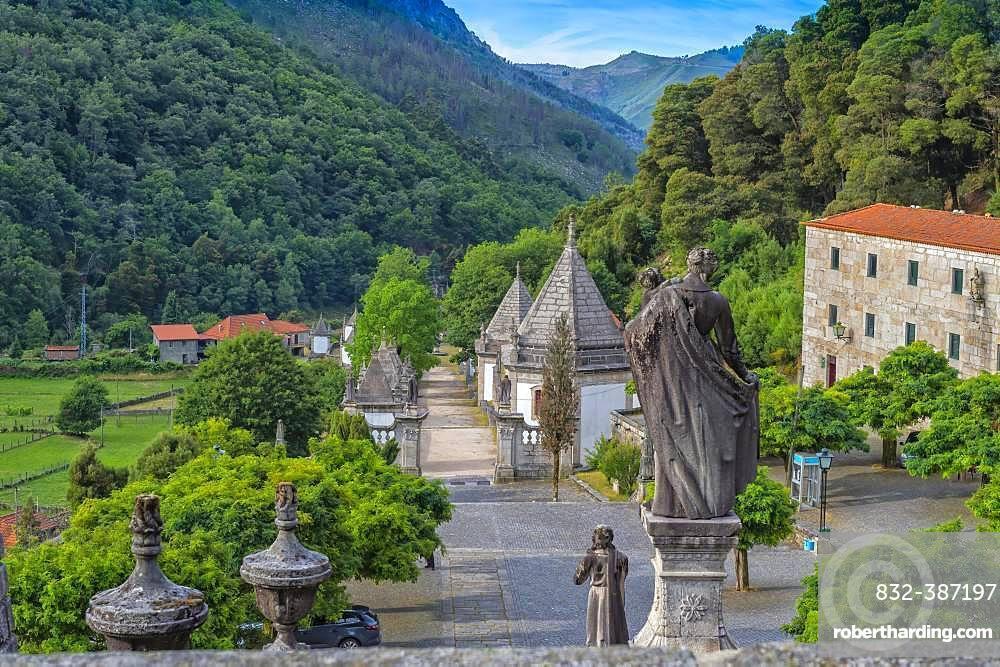 Nossa Senhora da Peneda Sanctuary, Stairway and chapels, Peneda Geres National Park, Gaviera, Minho province, Portugal, Europe