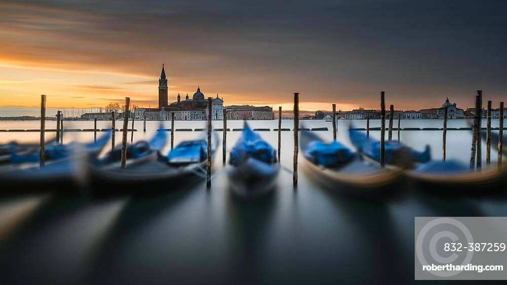 Gondolas at St. Mark's Square with San Giorgio Maggiore, Venice, Italy, Europe