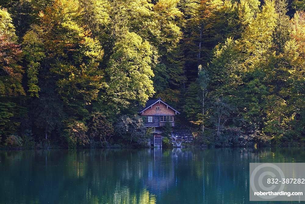 Wooden hut at the Freibergsee, near Oberstdorf, Oberallgaeu, Allgaeu, Swabia, Bavaria, Germany, Europe
