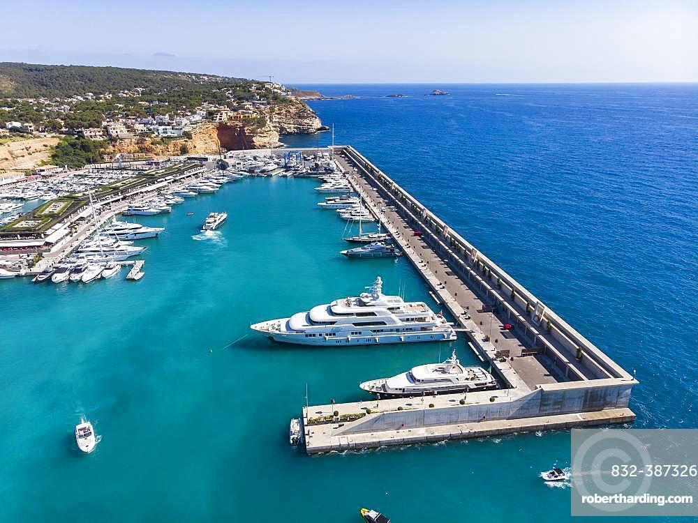 Aerial view, El Toro, luxury marina Port Adriano, Majorca, Balearic Islands, Spain, Europe