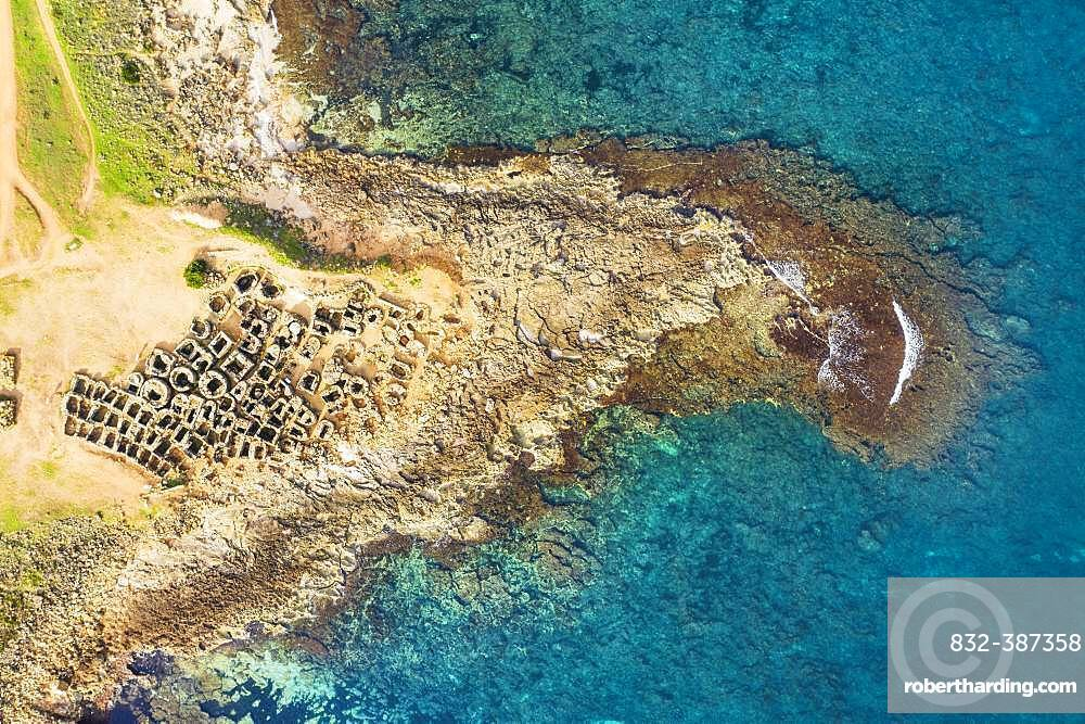 Necropolis of Son Real from above, Punta des Fenicis near Can Picafort, drone image, Majorca, Balearic Islands, Spain, Europe