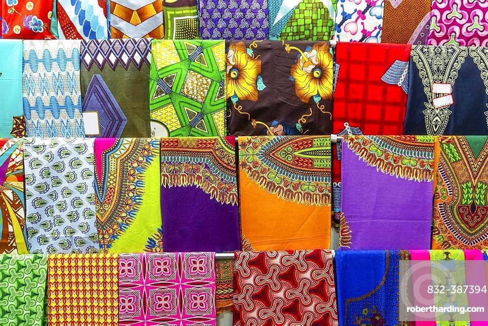 Plenty of colorful African fabrics, Maputo, Mozambique, Africa