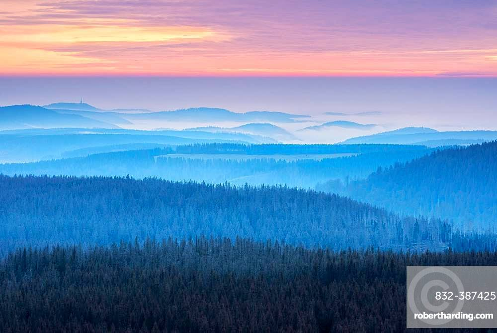 View over hilly landscape with valley fog at sunset, Harz National Park, Lower Saxony, Germany, Europe