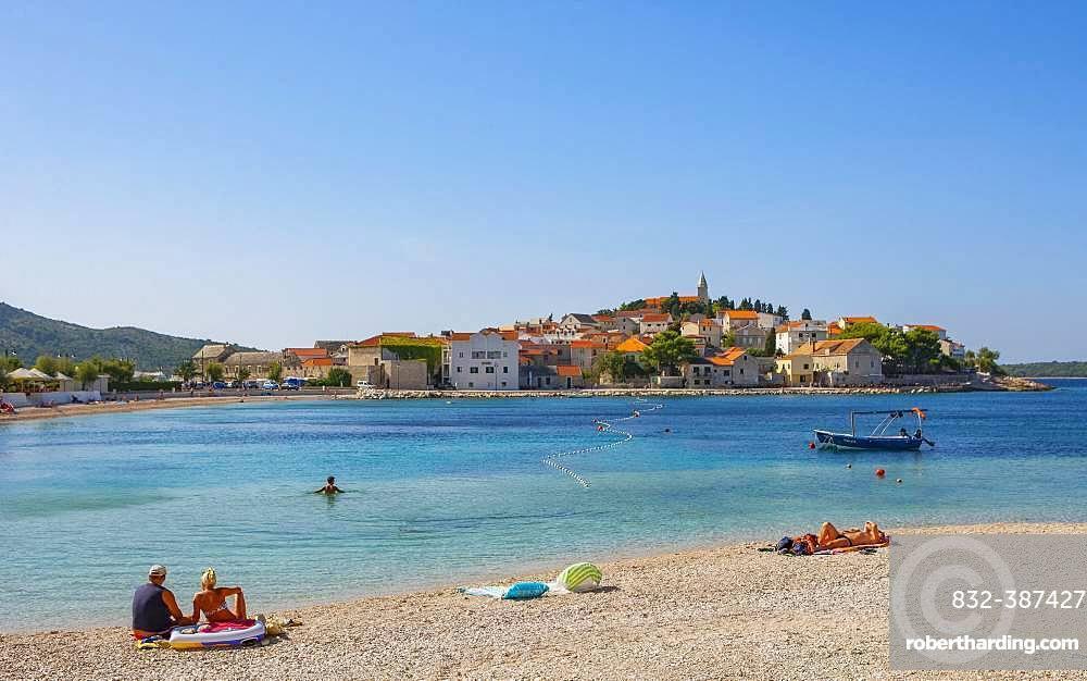 Beach, Primosten, Croatian Adriatic Coast, Central Dalmatia, Dalmatia, Croatia, Europe