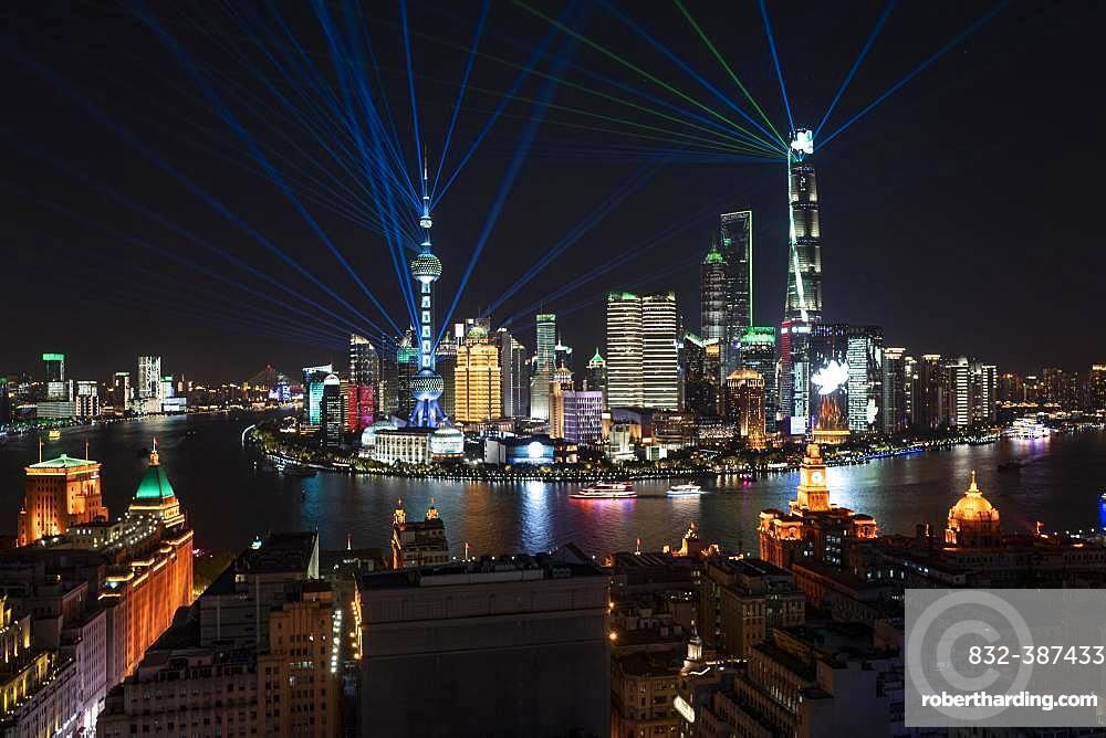 Skyline, Pudong at night, Shanghai, China, Asia