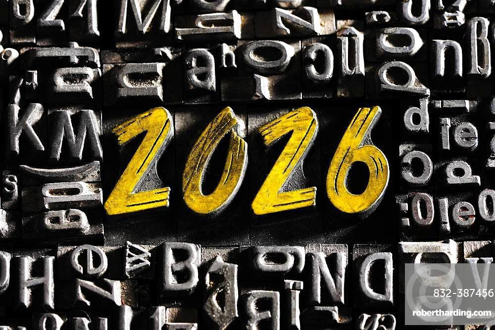 Old lead letters with golden writing show the word 2026, Germany, Europe