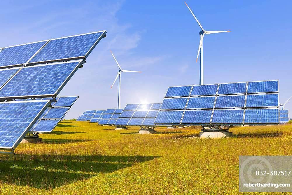 Digital Composing, solar park, photovoltaic outdoor installation, solar modules, solar power plant, wind power, wind turbines, Bavaria, Germany, Europe