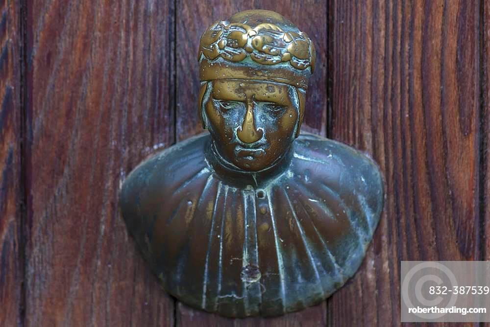 Male bronze figure as doorknob, Venice, Veneto, Italy, Europe