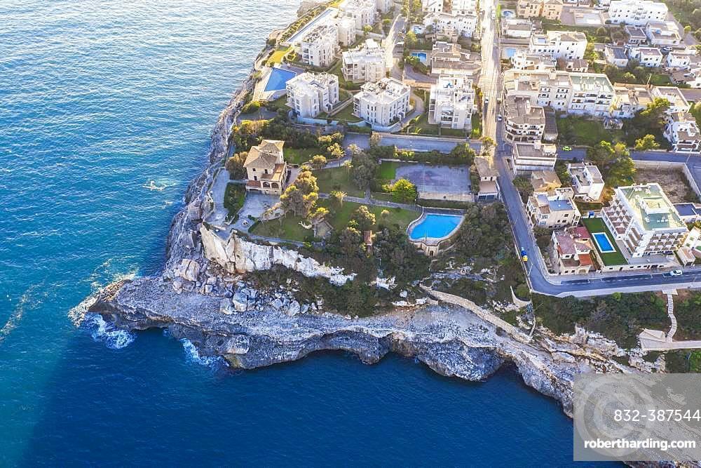 Holiday settlement in Cala Figuera, near Santanyi, aerial view, region Migjorn, Mediterranean Sea, Majorca, Balearic Islands, Spain, Europe