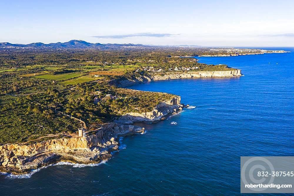 Steep coast with watchtower Torre d'en Beu near Cala Figuera, near Santanyi, aerial view, Migjorn region, Mediterranean Sea, Majorca, Balearic Islands, Spain, Europe