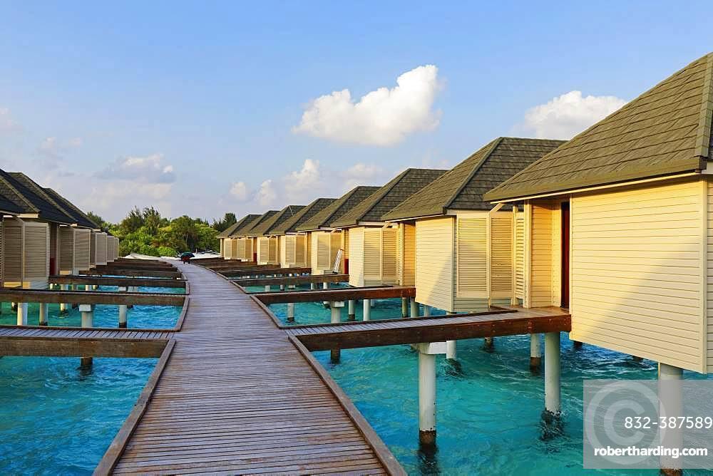 Water bungalows, Summer Island, North Male Atoll, Maldives, Asia