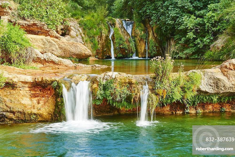 Waterfall, Matarranya River at El Parrizal, Beceite, Catalonia, Spain, Europe